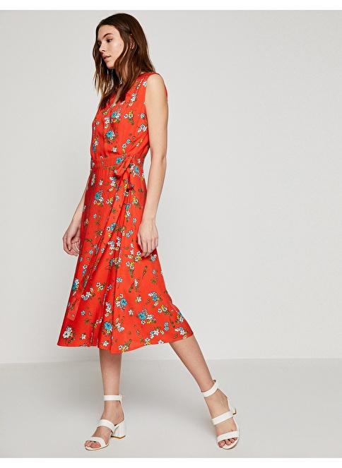 Koton V Yaka Çiçekli Midi Elbise Kırmızı